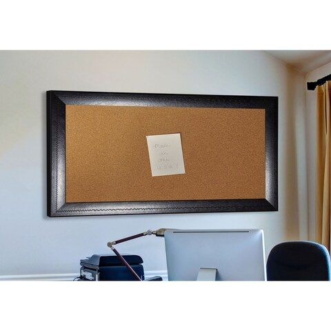 American Made Rayne Stitched Black Leather Corkboard
