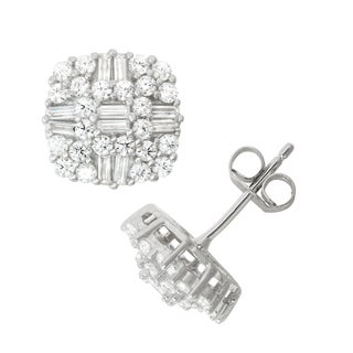 Gioelli Sterling Silver Cubic Zirconia Pave Stud Earrings