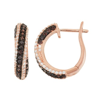 Gioelli Rose Gold over Silver Mocha Cubic Zirconia Pave Hoop Earrings