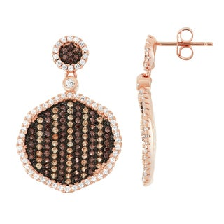 Gioelli Rose Gold over Silver Mocha Cubic Zirconia Pave Dangling Earrings