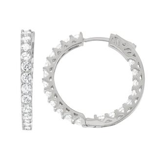 Gioelli Sterling Silver Cubic Zirconia Hoop Earrings