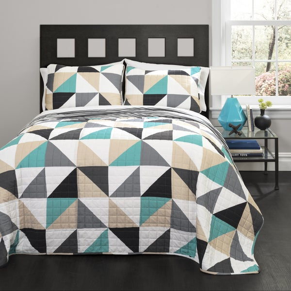 Lush Decor Abner Geo Turquoise 3-piece Quilt Set