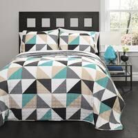 Lush Decor Abner Geo Turquoise 3-piece Quilt Set
