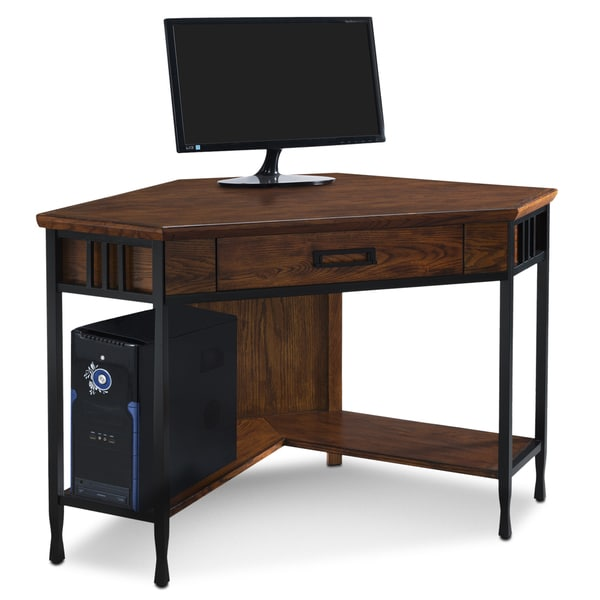 mission oak wood corner writing computer desk free shipping today 18773268. Black Bedroom Furniture Sets. Home Design Ideas