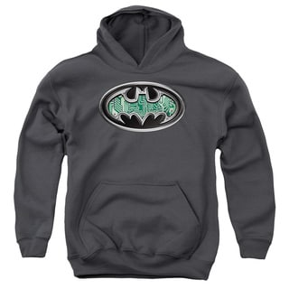 Batman/Circuitry Shield Youth Pull-Over Hoodie in Charcoal