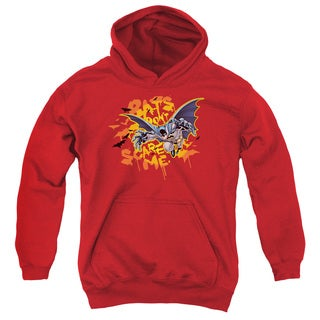 Batman/Bats Don't Scare Me Youth Pull-Over Hoodie in Red