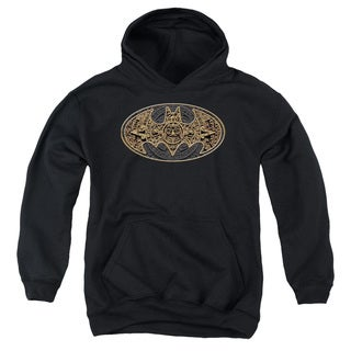 Batman/Aztec Bat Logo Youth Pull-Over Hoodie in Black