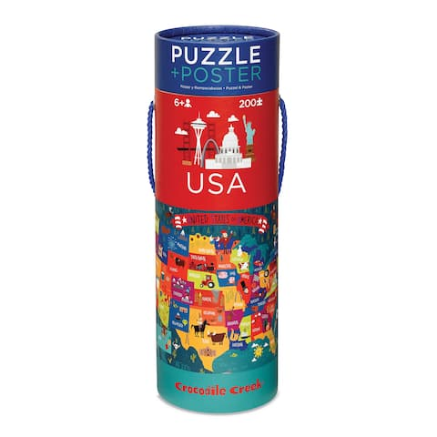 Crocodile Creek 200-piece USA Map Jigsaw Puzzle and Matching Poster