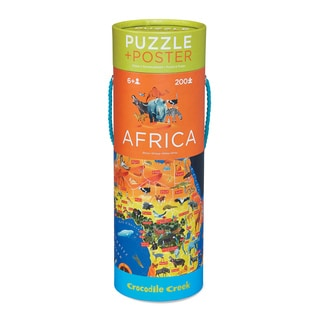 Crocodile Creek Africa Map 200-piece Jigsaw Puzzle and Matching Poster