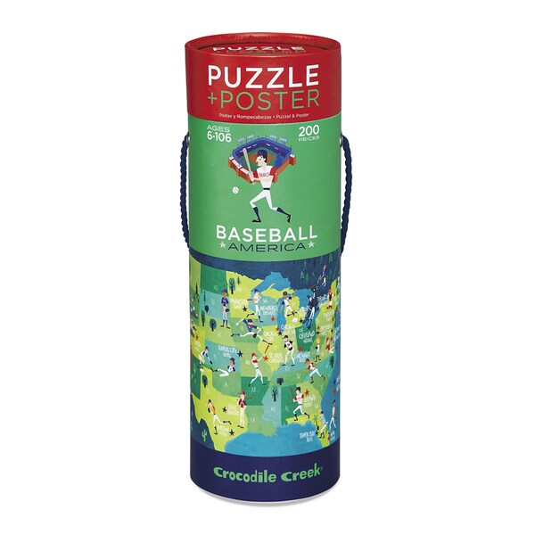 Crocodile Creek American Baseball Cardboard 200-piece Trivia Jigsaw Puzzle with Matching Poster