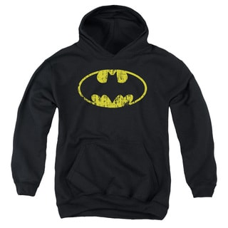 Batman/Classic Logo Distressed Youth Pull-Over Hoodie in Black