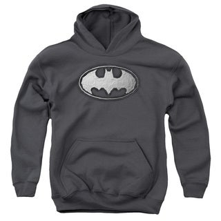 Batman/Duct Tape Logo Youth Pull-Over Hoodie in Charcoal