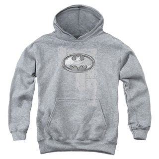 Batman/Rivited Metal Logo Youth Pull-Over Hoodie in Heather