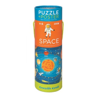Crocodile Creek Space Exploration 200-piece Jigsaw Puzzle and Matching Poster