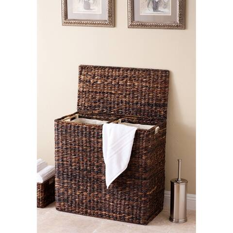 BirdRock Home Espresso Seagrass/Cotton Canvas Lined Oversized Divided Hamper
