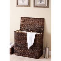 BirdRock Home Espresso Seagrass/Cotton Canvas Lined Oversized Divided Hamper