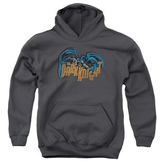 Batman/Retro Dark Knight Youth Pull-Over Hoodie in Charcoal