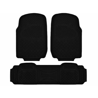 Zone Tech Black 3-piece Universal Fit All-weather Heavy-duty Rubber Vehicle Floor Mats