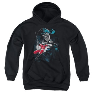 Batman/Black and White Youth Pull-Over Hoodie in Black