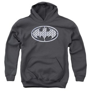 Batman/Steel Mesh Shield Youth Pull-Over Hoodie in Charcoal