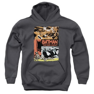 Batman/Old Movie Poster Youth Pull-Over Hoodie in Charcoal