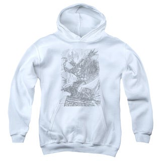 Batman/Pencil Batarang Throw Youth Pull-Over Hoodie in White