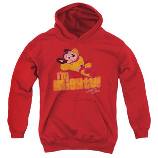 Mighty Mouse/I'M Mighty Youth Pull-Over Hoodie in Red