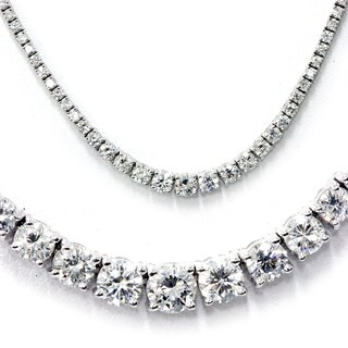 18k White Gold 8.61ct TDW Graduated Diamond Tennis Necklace (G-H, SI1-SI2)