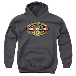Survivor/Fiji Youth Pull-Over Hoodie in Charcoal