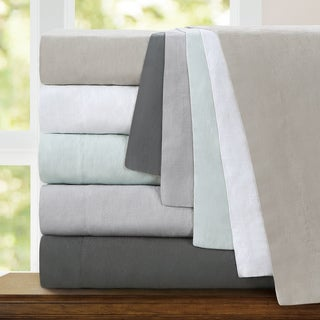 Echelon Home Washed Belgian Linen Duvet Cover Set Size King in Eggshell White (As Is Item)