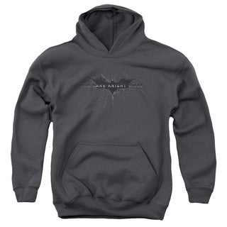 Dark Knight Rises/Scratched Logo Youth Pull-Over Hoodie in Charcoal