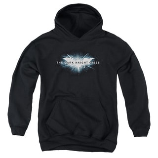 Dark Knight Rises/Cracked Bat Logo Youth Pull-Over Hoodie in Black
