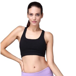 Women's Energy Crop Black/Green/Pink/Purple Cotton/Spandex Padded Sports Bra (More options available)
