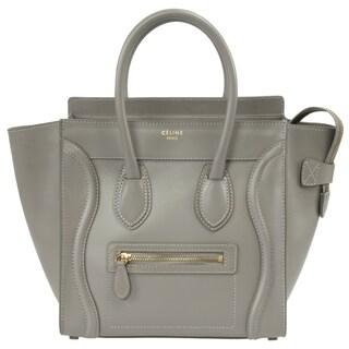Celine Micro Luggage Smooth Grey Leather Handbag
