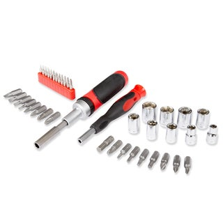 Ratcheting Screwdriver with 41 Piece Bit and Socket Set - Stubby Handle Multitool by Stalwart