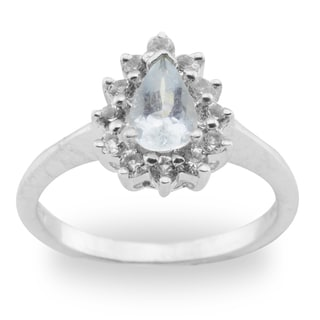 Haven Park Sterling Silver Blue Topaz Halo Ring