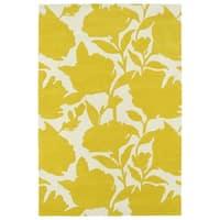 Hand-Tufted Seldon Yellow Floral Shadow Rug - 5' x 7'9