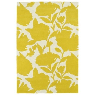 Hand-Tufted Seldon Yellow Floral Shadow Rug (3'0 x 5'0) - 3' x 5'