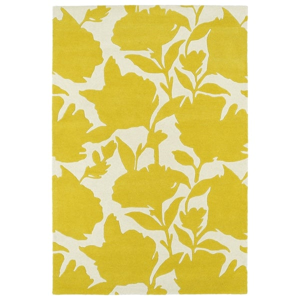 Hand-Tufted Seldon Yellow Floral Shadow Rug (2'0 x 3'0) - 2' x 3'