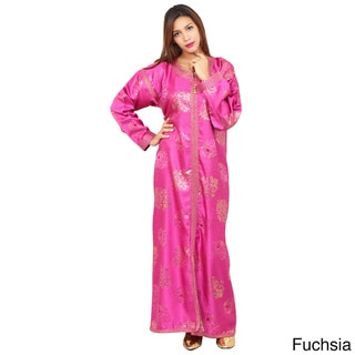 Women's Handmade Embroidered Caftan with Belt (Morocco)