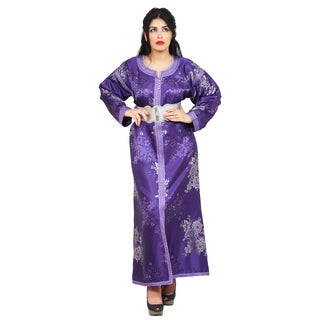 Handmade Women's Embroidered Caftan with Belt (Morocco)