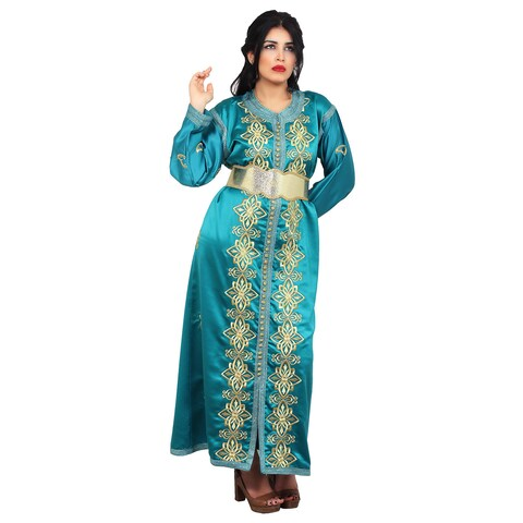 Handmade Women's Embroidered Exquited Green Caftan with Complimentary Belt (Morocco)
