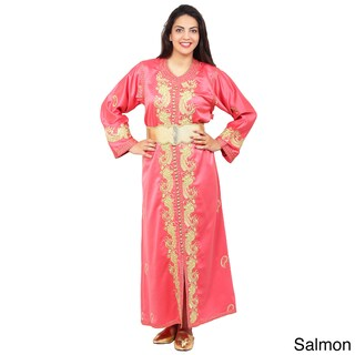 Women's Handmade Embroidered Exquited Green Caftan with Complimentary Belt (Morocco) (Option: Salmon)