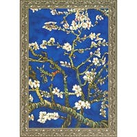 La Pastiche Original 'Branches Of An Almond Tree In Blossom, Sapphire Blue' Hand Painted Framed Canvas Art