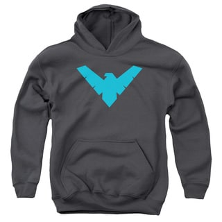Batman/Nightwing Symbol Youth Pull-Over Hoodie in Charcoal