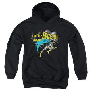 Batman/Batgirl Halftone Youth Pull-Over Hoodie in Black