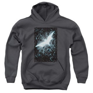 Dark Knight Rises/Crumble Poster Youth Pull-Over Hoodie in Charcoal