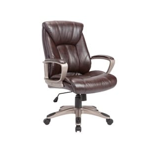 Brown Faux-leather Adjustable Swivel Office Chair