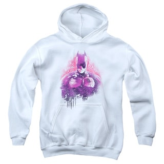Dark Knight Rises/Spray Bat Youth Pull-Over Hoodie in White