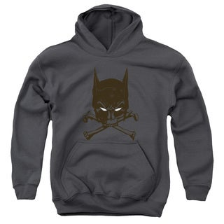 Batman/Bat and Bones Youth Pull-Over Hoodie in Charcoal